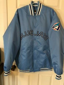 Cooperstown Collection Majestic Toronto Blue Jays Jacket Baby Blue Emboidered XL