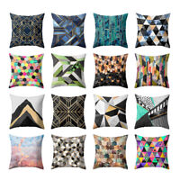EE_ 18'' GEOMETRIC PRINTED SOFA CUSHION COVER THROW PILLOW CASE HOME BED DECOR F