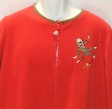 Nick & Nora Red Sock Monkey One-Piece Fleece Footie Pajamas PJs XXL