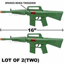 LOT OF 2 - GREEN CAR-15 M-16 RIFLE TOY ASSAULT MACHINE GUN TOY SOUND & SPARKS