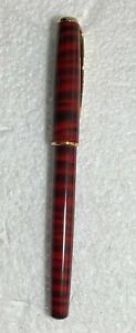Vintage Red Striped Ballpoint Pen w Tan Leather Case