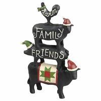 Farm Family Friends Stacked Animals Black 5 x 3 Resin Stone Christmas Figurine