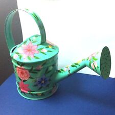 Vintage Watering Can Turquoise Flower Hand Painted India Small Metal Home Decor