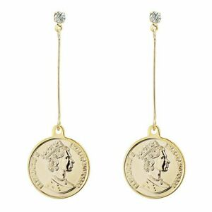 Long Coin Queen Dangle Earrings Drop Earings For Womens Female Gold Crystal New
