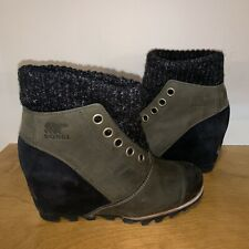 Sorel Joanie Sweater Lea Wedge Peatmoss Black 7 Joan Arctic Ankle Boot