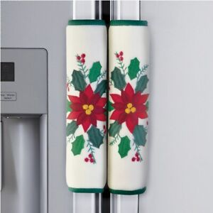Set of 3 Poinsettia & Cardinals Christmas Kitchen Appliance Handle Covers