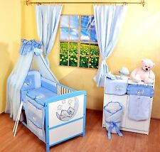 NEW WHITE-BLUE 2in1 COT-BED 120x60 WITH 3-PIECE BEDDING no 7- MATTRESS FOR FREE