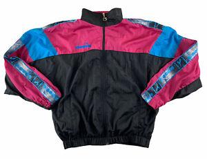 Vintage Diadora Tape Spell Out Spray Pink Blue Black Jacket Size M