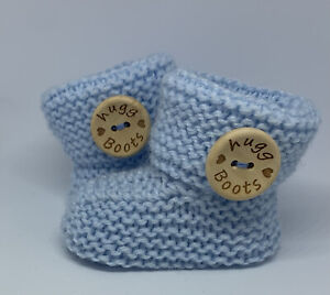 Adorable Hand Knitted Blue Baby Boy Booties. HUGG BOOTS. Size 0-3 Months.