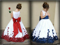 Rose Petals Flower Girl Dress Wedding Bridesmaid Party Dress size:1-14 Dress