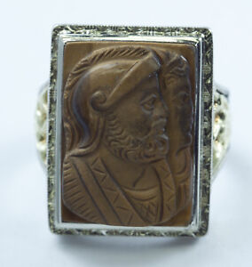 "Men's Tiger's Eye 10K  Ring Greek Warrior & Griffins 2-Tone Size 9.5    1"" Wide"