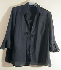 M 2 Piece Look Blouse Blue Diamond New Black Ruffle Shell Lined  CHIC FASHION