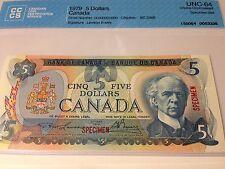 1979 Canada,5 Dollars,*Specimen*Banknote, Lawson-Bouey,00000000000, CCCS, UNC-64