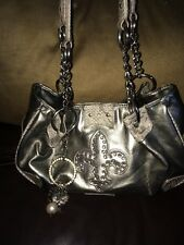 M.C. Marc Chantal Faux Leather Silver Purse Rhinestones EUC Item #24