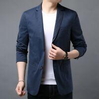 Men's Lapel Collar Jacket Tuxedo Slim Fit Two Button Blazers Coat Formal Casual
