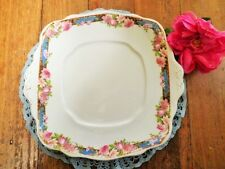 VINTAGE ROYAL ALBERT CAKE PLATE CROWN CHINA PINK ROSES BLUE ART DECO see MORE