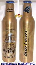 CAROLINA PANTHER NFL 2016 SUPER BOWL 50 CHAMPS FOOTBALL ALUMINUM BOTTLE BEER CAN