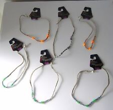 """6 NATURAL HANDMADE HEMP 17  INCH """"RAVE ENERGY"""" NECKLACES/ CHOKERS WITH BEADS"""
