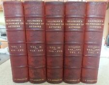DICTIONARY of AUTHORS by ALLIBONE w Supplement by KIRK, 5 Vols, 1902 Nr. Fine