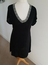 Next Black Beach Dress With Back Cut Out Size M with Labels