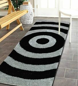Black Silver Color Ultra Soft Modern Rug Made Of Microfibre Polyester(50x150 CM)