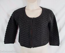 Swildens XXX Black Cotton Blend Hand Crocheted Knit Cardigan Sweater Hook Eye SM