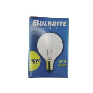 Bulbrite 40G12CL 40W G12 Globe 130V Light Bulb Clear