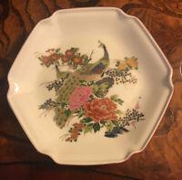 Vintage Satsuma Peacock Plate Red & Gold Border