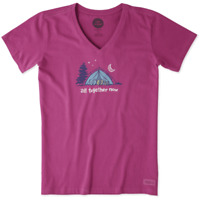 Life Is Good Womens XS Magenta Crusher V-Neck T-Shirt All Together Now Camp Tent