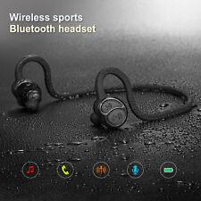Wireless Bluetooth Sweatproof Headset Stereo Sports Earpiece Headphone Black