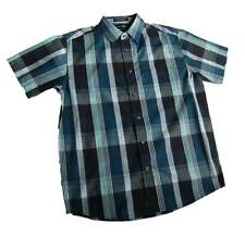BEVERLY HILLS POLO CLUB LARGE BLUE PLAID CAMP SHIRT CASUAL FRONT BUTTON NWOT NEW