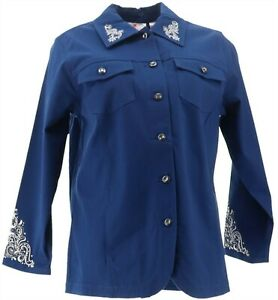 Quacker Cute Factory Scroll Embellished Woven Collar Jacket Navy S NEW A280813