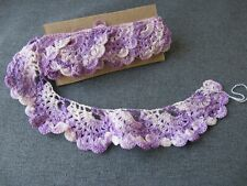 New listing Vintage purple & creamy marbled crocheted lace trim ruffles edging 1 Yard #16e