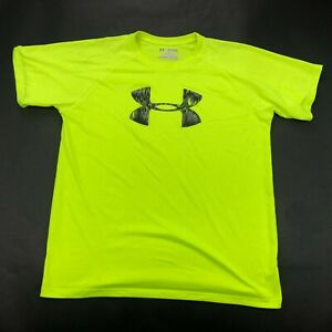 Under Armour Shirt Youth Boys XL Neon Yellow Short Sleeve Graphic