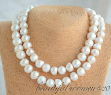 Z6505 15mm white baroque freshwater cultured pearl necklace 34inch