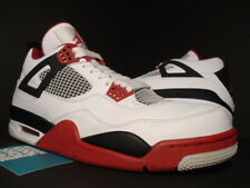 newest a2c9d 03201 NIKE AIR JORDAN IV 4 RETRO WHITE FIRE RED BLACK CEMENT GREY 308497-110 OG
