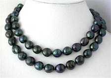 """NEW 35"""" 8-9mm nature baroque black freshwater pearl necklace AAA"""