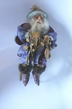 Beautiful Old World Mantel Sitting Wizard Dressed In Purple