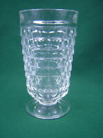 Vintage Indiana Whitehall Colony Cube Clear Glass  Flared Footed Tumbler 12 OZ