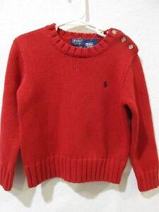POLO RALPH LAUREN Boys Red Pony Logo Sweater 4 NWT