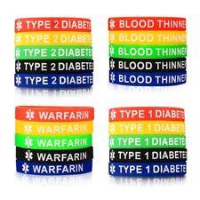 5Pcs Men Women Medical Alert Silicone Bracelet Wristband Set Medical Info Gift