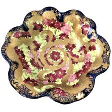 Vintage Hand Painted Gold Gilt Scalloped Edge Bowl Flowers Oriental Mark