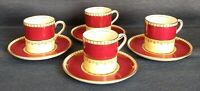 Aynsley ~ B3736 ~ Set of 4 ~ DEMITASSE FLAT CUPS and SAUCERS ~ Cranberry & Gold