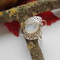 Mondstein, blau, weiß, modern, Ring, Ø 17,25 mm, 925 Sterling Silber, neu