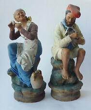 2 Keramik Figur Fischer ceramic fishermen clay pêcheur figurine 19th majolika