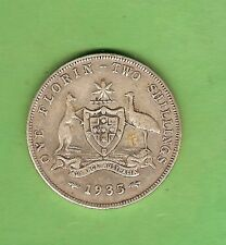 1935  AUSTRALIAN STERLING SILVER FLORIN TWO SHILLING  COIN