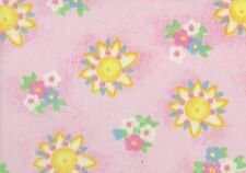 Pink / Yellow Floral Polycotton Fabric