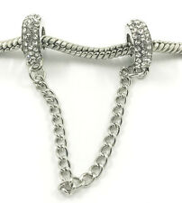Fashion 2pcs Silver European Charm Crystal Spacer Beads Fit Necklace Bracelet !