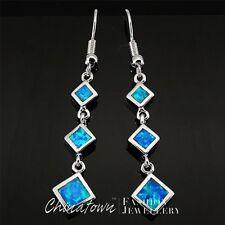 3 Square Ocean Blue Fire Opal Inlay Silver Jewelry Dangle Drop Earrings