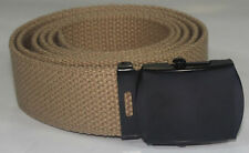 "NEW ADJUSTABLE 44"" INCH KHAKI BROWN CANVAS MILITARY GOLF WEB BELT BLACK BUCKLE"